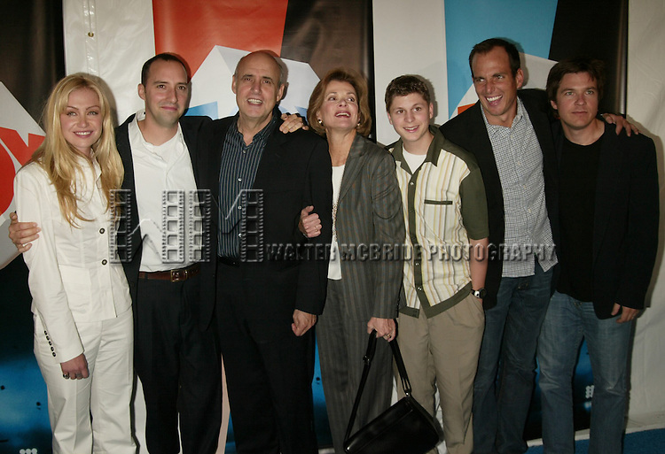 """The Cast of """"Arrested Development"""" (l-r): Portia de Rossi, Tony Hale, Jeffrey Tambor, Jessica Walter. Michael Cera, Will Arnett & Jason Bateman attending the FOX TV Network Upfront at the City Center with a party at The Boathouse in Central Park, New York City.  May 20, 2004.  © Walter McBride / .."""