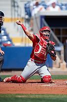 Palm Beach Cardinals catcher Jose Godoy (27) throws to first base during a game against the Charlotte Stone Crabs on April 12, 2017 at Charlotte Sports Park in Port Charlotte, Florida.  Palm Beach defeated Charlotte 8-7 in ten innings.  (Mike Janes/Four Seam Images)