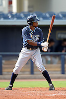 Tampa Bay Rays outfielder Manny Sanchez (32) during an Instructional League game against the Minnesota Twins on September 16, 2014 at Charlotte Sports Park in Port Charlotte, Florida.  (Mike Janes/Four Seam Images)