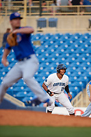Lake County Captains pinch runner Will Benson (29) leads off first base during the first game of a doubleheader against the South Bend Cubs on May 16, 2018 at Classic Park in Eastlake, Ohio.  South Bend defeated Lake County 6-4 in twelve innings.  (Mike Janes/Four Seam Images)