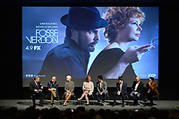 """NEW YORK - APRIL 7: (L-R) Moderator Matt Roush, Sam Rockwell, Michelle Williams, Nicole Fosse, Thomas Kail, Steve Levenson, Joel Fields and Lin-Manuel Miranda attend a Q&A after the screening of FX's """"Fosse Verdon"""" presented by FX Networks, Fox 21 Television Studios, and FX Productions at the Museum of Modern Art on April 7, 2019 in New York City. (Photo by Anthony Behar/FX/PictureGroup)"""
