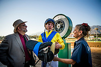 ARCADIA, CA - SEPTEMBER 30: Drayden Van Dyke at the Awesome Again Stakes after winning Mubtaahij #6 at Santa Anita Park on September 30, 2017 in Arcadia, California. (Photo by Alex Evers/Eclipse Sportswire/Getty Images)