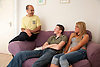 Teenage girl and boy in hostel with Social worker.