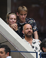 FLUSHING NY- SEPTEMBER 08: Uma Thurman, Levon Thurman-Hawke and Peter Sarsgaard are seen watching Rafael Nadal Vs Daniil Medvedev during the men's finals on Arthur Ashe Stadium at the USTA Billie Jean King National Tennis Center on September 8, 2019 in Flushing Queens. <br /> CAP/MPI04<br /> ©MPI04/Capital Pictures