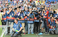 20170601 - CARDIFF , WALES : illustration picture of the press and photographers during a womensoccer match between the teams of  Olympique Lyonnais and PARIS SG, during the final of the Uefa Women Champions League 2016 - 2017 at the Cardiff City Stadium , Cardiff - Wales - United Kingdom , Thursday 1  June 2017 . PHOTO SPORTPIX.BE | DAVID CATRY