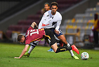 Preston North End's Andre Green is tackled by Bradford City's Tyler French<br /> <br /> Photographer Dave Howarth/CameraSport<br /> <br /> The Carabao Cup First Round - Bradford City v Preston North End - Tuesday 13th August 2019 - Valley Parade - Bradford<br />  <br /> World Copyright © 2019 CameraSport. All rights reserved. 43 Linden Ave. Countesthorpe. Leicester. England. LE8 5PG - Tel: +44 (0) 116 277 4147 - admin@camerasport.com - www.camerasport.com