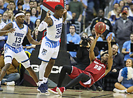 Washington, DC - March 10, 2018: Saint Joseph's Hawks forward James Demery (25) passes the ball as he falls during the Atlantic 10 semi final game between Saint Joseph's and Rhode Island at  Capital One Arena in Washington, DC.   (Photo by Elliott Brown/Media Images International)