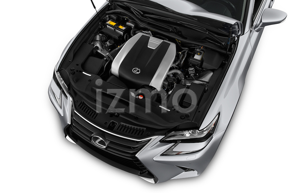 Car Stock 2016 Lexus GS 350 4 Door Sedan Engine  high angle detail view