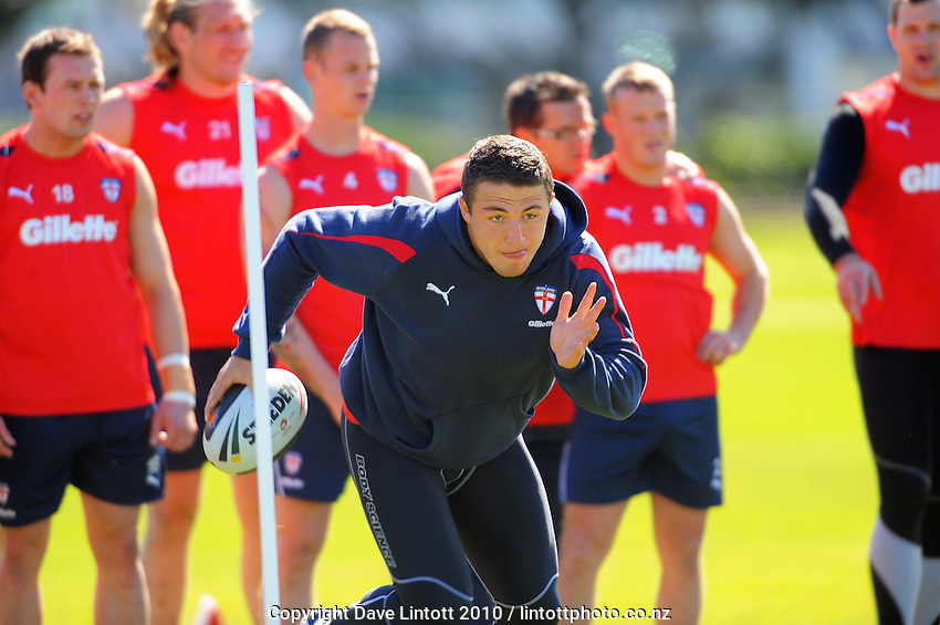 Sam Burgess. English Rugby League training at Petone Recreation Ground, Petone, Wellington, New Zealand on Tuesday, 19 October 2010. Photo: Dave Lintott / lintottphoto.co.nz
