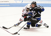 Matt Benning (NU - 5), Kyle Schmidt (Bentley - 20) - The visiting Bentley University Falcons defeated the Northeastern University Huskies 3-2 on Friday, October 16, 2015, at Matthews Arena in Boston, Massachusetts.