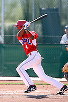 Angel Yente #4 of the Dominican Prospect League All-stars plays against the Langley (British Columbia) Blaze in an exhibition game at Surprise Recreational Complex, the Texas Rangers minor league complex, on March 22, 2011 in Surprise, Arizona..Photo by:  Bill Mitchell/Four Seam Images
