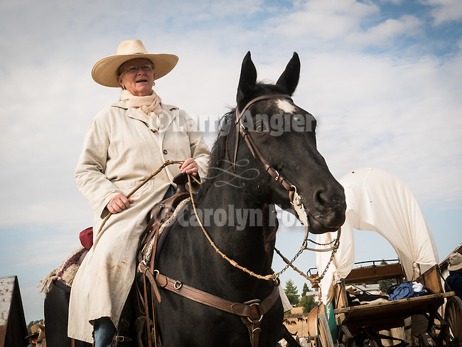 Days of '49 wagon train at the Oneto Ranch, Amador County, Calif.<br /> <br /> Diamond Jubilee commemoration of the founding of Amador County in 1854