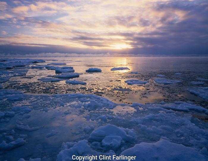 sunrise over Newport Bay, Lake Michigan, Newport State Park, Door County, Wisconsin