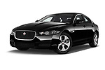 Stock pictures of low aggressive front three quarter view of a 2018 Jaguar XE Prestige 4 Door Sedan
