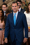 King Felipe VI of Spain attends a reception to the promotions state bar in 2014 and 2015 and 1990 promotion to mark its 25th anniversary during royal audiences at Zarzuela Palace in Madrid, September 03, 2015. <br /> (ALTERPHOTOS/BorjaB.Hojas)