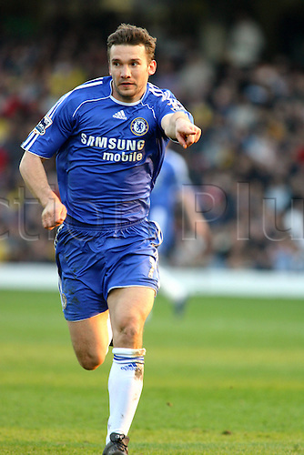 31 March 2007: Chelsea striker Andriy Shevchenko pointing during the Premiership game between Watford and Chelsea , played at Vicarage Road. Chelsea won the match 1-0. Photo: Actionplus....060820 football soccer player