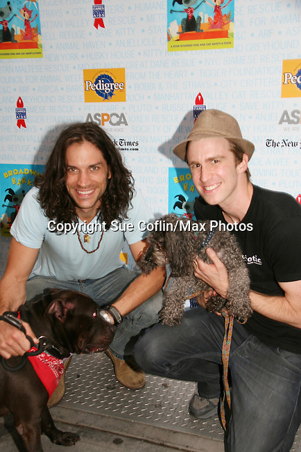 """HAIR cast  - Will Swenson and Gavin Creel at Broadway Barks 11 - a """"Pawpular"""" star-studded dog and cat adopt-a-thon on July 11, 2009 in Shubert Alley, New York City, NY. (Photo by Sue Coflin/Max Photos)"""