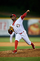 Greeneville Reds relief pitcher Perez Knowles (26) delivers a pitch during a game against the Pulaski Yankees on July 27, 2018 at Pioneer Park in Tusculum, Tennessee.  Greeneville defeated Pulaski 3-2.  (Mike Janes/Four Seam Images)
