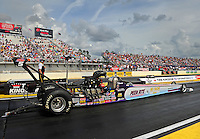Mar. 9, 2012; Gainesville, FL, USA; NHRA top alcohol dragster driver Chris Demke during qualifying for the Gatornationals at Auto Plus Raceway at Gainesville. Mandatory Credit: Mark J. Rebilas-