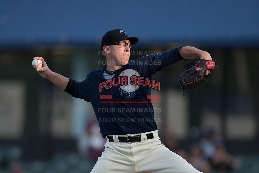 Mobile BayBears starting pitcher Matt Ball (39) during a Southern League game against the Jacksonville Jumbo Shrimp on May 8, 2019 at Hank Aaron Stadium in Mobile, Alabama.  Jacksonville defeated Mobile 7-1.  (Mike Janes/Four Seam Images)