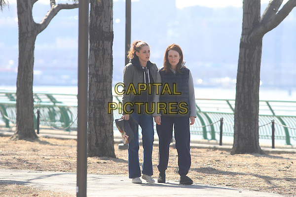 NEW YORK, NEW YORK - MARCH 14: Kristen Stewart &amp; Julianne Moore filming on the set of &quot;Still Alice&quot; on March 14th, 2014 in New York City, NY., USA.<br /> CAP/BT<br /> &copy;BT/Capital Pictures
