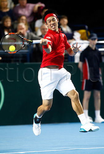 04.03.2016. Barclaycard Arena, Birmingham, England. Davis Cup Tennis World Group First Round. Great Britain versus Japan. Kei Nishikori of Japan hits a forehand during his singles match against Great Britain's Dan Evans on day 1 of the tie. Nishikori won in straight sets 6-3, 7-5, 7-6.