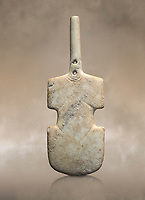Cycladic violin shaped figurine. Early Cycladic Period I (Grotta-Pelos Phase 3200-2800). National Archaeological Museum, Athens. <br /> <br /> This Cycladic violin shaped figurine has two holes in its neck which were provavly used to hold its broken neck together with wire or cord.