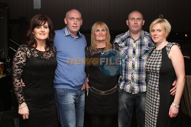 Marie Brennan celebrates her birthday in the Pheasant with her sons Keith and Lee and her daughters in law Christine and Deirdre...(Photo credit should read Jenny Matthews/NEWSFILE)...