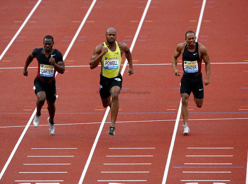 Photo: Richard Lane/Richard Lane Photography. Aviva Birmingham Grand Prix. 10/07/2011. Jamaica's Asafa Powell crosses the line to win the mens 100m final.