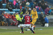 23rd March 2018, Ullevaal Stadion, Oslo, Norway; International Football Friendly, Norway versus Australia; Tom Rogic of Australia chips the ball long over Meling