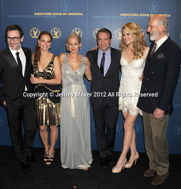 HOLLYWOOD, CA - JANUARY 28: Michel Hazanavicius, Berenice Bejo, Penelope Ann Miller, Jean Dujardin, Missi Pyle and James Cromwell pose in the press room during the 64th Annual Directors Guild Of America Awards at the Grand Ballroom at Hollywood & Highland Center on January 28, 2012 in Hollywood, California.