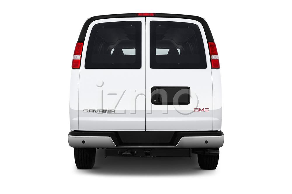 Straight rear view of 2018 GMC Savana-Passenger 3500-LS-Ext 5 Door Passenger Van Rear View  stock images