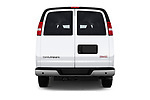 Straight rear view of 2018 GMC Savana-Passenger 3500-LS-Ext 5 Door Passenger Van Rear View  stock images