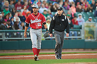 Great Lakes Loons third baseman Mike Ahmed (11) walks away from umpire Brock Ballou during a game against the Dayton Dragons on May 21, 2015 at Fifth Third Field in Dayton, Ohio.  Great Lakes defeated Dayton 4-3.  (Mike Janes/Four Seam Images)