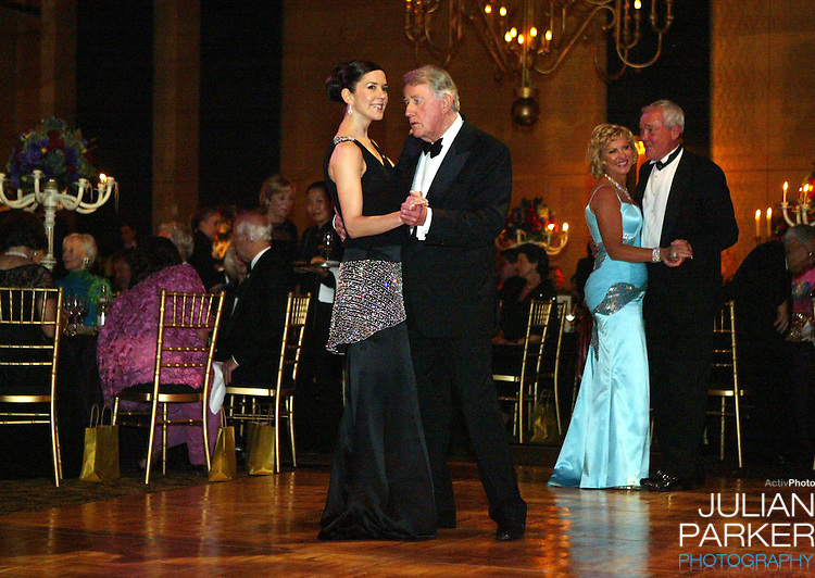 Crown Princess Mary of Denmark attends the Victor Chang Ball at the Sofitel Wentworth Hotel, Sydney, during a 2-week visit to Australia with Crown Prince Frederik. She danced with former Premier of New South Wales Neville Wran..