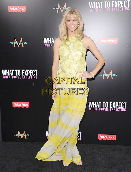 Brooklyn Decker.Ther L.A. Premiere of  'What to Expect When You're Expecting' held at The Grauman's Chinese Theatre in Hollywood, California, USA..May 14th, 2012.full length dress drop waist print maxi yellow white sleeveless hand on hip.CAP/RKE/DVS.©DVS/RockinExposures/Capital Pictures.