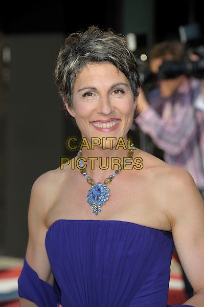 Tasmin Greig.Arrivals at the Arqiva British Academy Television Awards held at the Royal Festival Hall, London, England..May 27th, 2012.BAFTA BAFTAS headshot portrait purple strapless necklace blue.CAP/PL.©Phil Loftus/Capital Pictures.