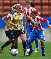 Olivia Klei (USA) and Ana Fleitas (PAR)..FIFA U17 Women's World Cup, Paraguay v USA, Waikato Stadium, Hamilton, New Zealand, Sunday 2 November 2008. Photo: Renee McKay/PHOTOSPORT
