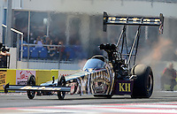 Sept. 23, 2012; Ennis, TX, USA: NHRA top fuel dragster driver Khalid Albalooshi during the Fall Nationals at the Texas Motorplex. Mandatory Credit: Mark J. Rebilas-US PRESSWIRE