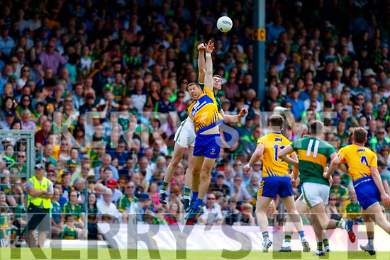 Jack Barry Kerry in action against Gary Brennan Clare during the Munster GAA Football Senior Championship semi-final match between Kerry and Clare at Fitzgerald Stadium in Killarney on Sunday.