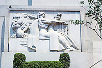 """Philadelphia: U.S. Post Office Annex. Stone relief """"Justice and Law II"""" by Donald De Lue.  Photo '88."""