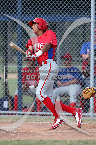 Philadelphia Phillies minor league outfielder Aaron Altherr vs. the Detroit Tigers during an Instructional League game at Tiger Town in Lakeland, Florida;  October 12, 2010.  Photo By Mike Janes/Four Seam Images