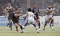 Jarrod Sammut ploughs through a hail storm for London during the Kingstone Press Championship game between London Broncos and Bradford Bulls at Ealing Trailfinders, Ealing, on Sun March 5, 2017