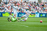 Leon Britton of Swansea City   is brought down by Nicolas Otamendi of Manchester City during the Barclays Premier League match between Swansea City and Manchester City played at the Liberty Stadium, Swansea on the 15th of May  2016
