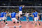 24.02.2019, SAP Arena, Mannheim<br /> Volleyball, DVV-Pokal Finale, VfB Friedrichshafen vs. SVG LŸneburg / Lueneburg<br /> <br /> Block zum Sieg / Matchball - Jakob GŸnthšr / Guenthoer (#12 Friedrichshafen)<br /> <br />   Foto © nordphoto / Kurth
