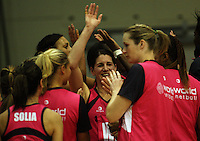 The World team celebrate victory during the International  Netball Series match between the NZ Silver Ferns and World 7 at TSB Bank Arena, Wellington, New Zealand on Monday, 24 August 2009. Photo: Dave Lintott / lintottphoto.co.nz