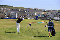 Hideto Tanihara (JPN) plays his 2nd shot from the rough on the 2nd hole during Thursday's Round 1 of the Dubai Duty Free Irish Open 2019, held at Lahinch Golf Club, Lahinch, Ireland. 4th July 2019.<br /> Picture: Eoin Clarke | Golffile<br /> <br /> <br /> All photos usage must carry mandatory copyright credit (© Golffile | Eoin Clarke)