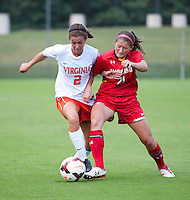Kate Norbo (2) of Virginia fights for the ball with Amanda Gerlitz (21) of Maryland during the game at Klockner Stadium in Charlottesville, VA.  Virginia defeated Maryland, 1-0.