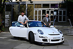 Eoghan McDermott takes over the coveted drivetime slot which is sponsored by Bridgestone, Pictured outside radio centre in RTE Montrose, Eoghan McDermott and the flashy Bridgestone Porsche GT3 and Colm Conyngham from Bridgestone Ireland.<br /> <br /> Picture Fran Caffrey /Newsfile