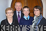 SMILES: Jessie Lacey who was confirmed on Friday in Kilmoyley Church by the bishop of Kerry Bill Murphy with his grandparents after his confirmation.................................. ....